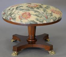Baker cherry and upholstered round stool. ht. 19 1/2in., dia. 29in.