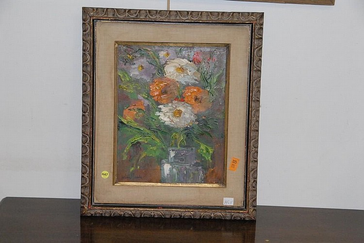 Edith Montlack (American 1914 - 2003) oil on canvas still life of flowers signed lower left Montlack