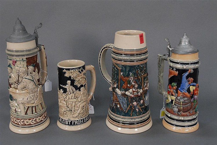 Four tall steins, two with tops, tallest: ht. 13in.