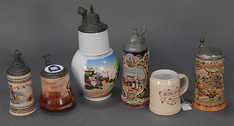 Six piece lot of steins and pitcher, tallest: ht. 12in.