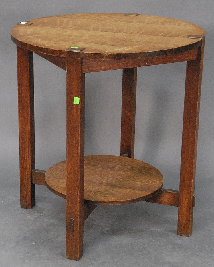 """Mission Oak round occasional table with remedial shelf signed Stickley Brothers A. Brown and Son Schenectady, dia. 24"""" ht. 26"""""""