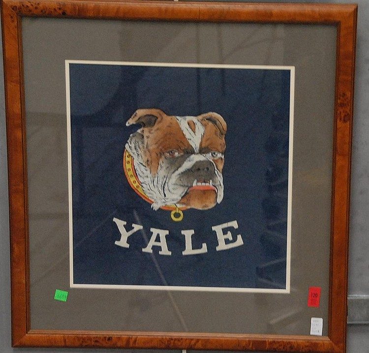 Two piece lot; Yale (English) Bulldog colored lithograph pencil signed Falla Stock Doolittle circa 1980-1990 and Yale felt with thre...
