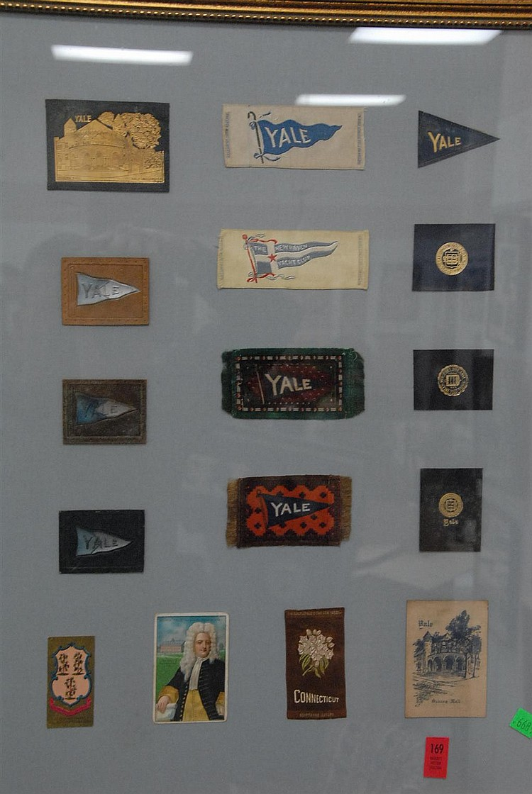 Collection of 16 tobacco silks and leathers 1900-1920 including two rare depictions of Osborne Hall, a portrait card of Elihu Yale, ...