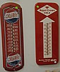 Three thermometer advertising signs; Pepsi-Cola metal advertising thermometer sign, Vaughn's Dainty Bread advertising thermometer, a..
