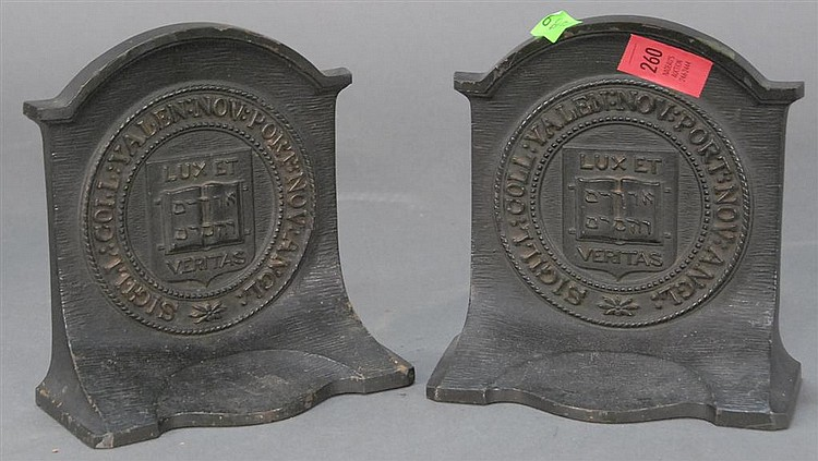 """Pair of Yale Bradley & Hubbard bookends, ht. 64""""."""