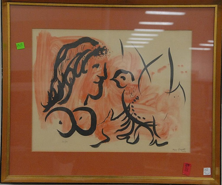 """Mark Chagall (1887-1985) print """"Love"""" signed in print lower right and numbered lower left 630/970, 13"""" x 16 1/2""""."""