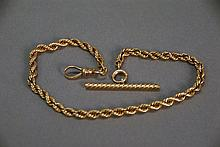 14K gold rope style watch chain. 25.4 grams; lg. 12 1/2in.
