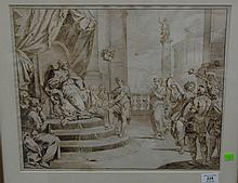 """Domenico Maria Fratta (1696-1763) THE TRIUMPH OF DAVID pen and brown ink on paper unsigned 14"""" x 17 1/4"""""""