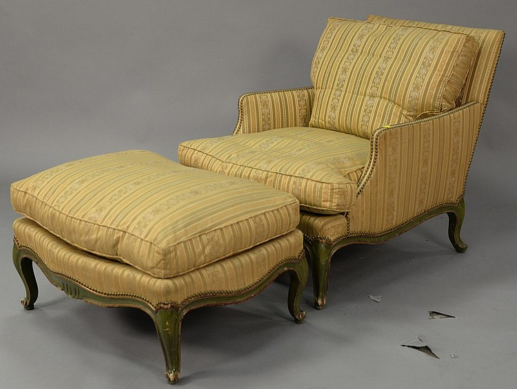 Louis XV Style Easy Chair And Ottoman, Down Filled.