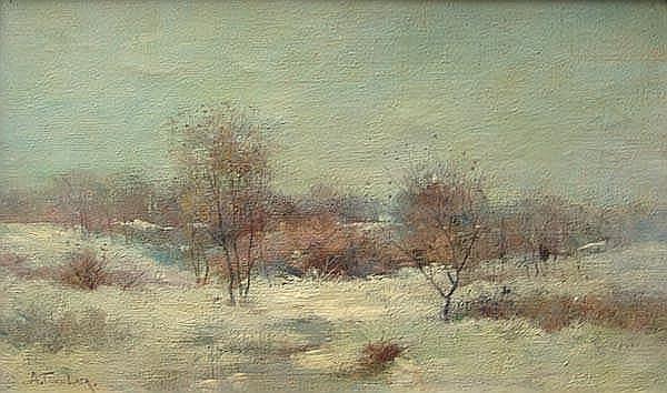 Alexander Theobald Van Laer (1857 - 1920)     LANDSCAPE     oil on canvas      signed lower left A. T. Van Laer     16
