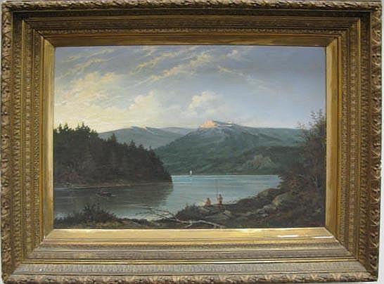 Werner Hunzinger (1816 - 1861) FISHING oil on