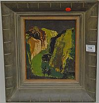 """Ethel Magafan (1916-1993) """"Mountain Stream"""" oil on masonite signed lower left Ethel Magafan and signed and titled on back, 10"""" x 18""""."""