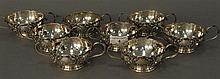 Set of eight sterling handled glass liners, 28.6 t oz.