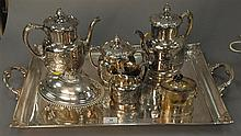 Seven piece lot including large silverplate tray and six piece lot on top.
