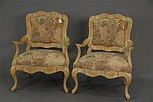 Pair of decorative Louis XV style chairs.