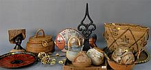Group of pottery and Indian pottery vases along with couple of baskets, brass tray, and roses, etc.