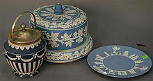 Three Jasperware dishes including a cheese bell dome, Adam's cookie jar, and Wedgwood cake plate.