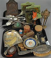 Two box lots of miscellaneous items including sterling dresser brush, World's Fair items, pin cushions, book ends, bronze vase, etc.