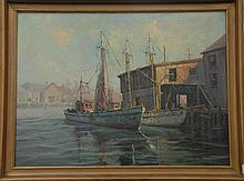 Ray Williams Gloucester Harbour oil on canvas signed lower right Ray Williams, 28