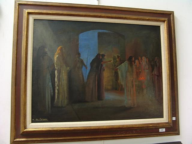 Marguerite De Corini (1902-1982) oil on canvas, figural scene with draped figures around a fire with guards at door, signed lower left, 24