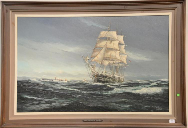 Warren Boucher (1922-1999) oil on canvas Bark Charles W. Morgan Whaling Ship Flying American Flag, signed lower right Warren Boucher...