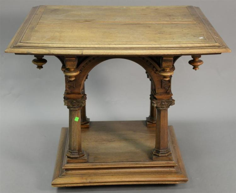 Gothic Victorian Mahogany Square Top Center Table With Carve