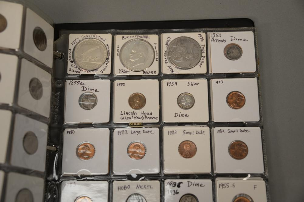 Large black loose leaf binder (10 pages) of coins to include