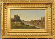 Auguste Paul Anastasi (1820-1889) SPRING DAY, RIVER'S EDGE oil on panel signed lower left Aug Anastasi 1860 paper label on reverse 1..