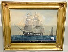 John Faunce Leavitt (1905-1974) US Frigate Constitution Entering Marblehead 1814 gouache and watercolor on paper signed lower rig...