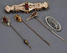 Gold and plated stick pins and Victorian pin.