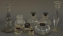 Nine piece lot of crystal including pair of cologne bottles with silver tops, ink bottles, and Val St. Lambert.