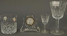 Waterford crystal, twenty-four pieces including nine rocks glasses, eight stems, six stemmed cordials, and one clock.