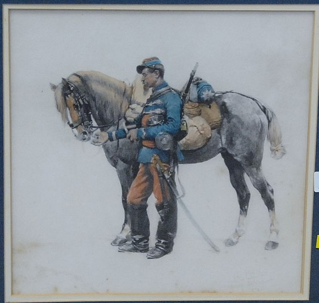 After Edouard Detaille (1848-1912) SOLDIER WITH HORSE watercolor signed lower right Fac Simile D'Apres une Aquarelle De Edouard Deta..