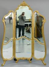 Louis XV style gilt three part dressing screen/mirror.  height 77 1/2 inches, width 51 inches