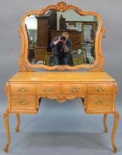 Victorian birdseye maple vanity and mirror with bombay sides, excellent condition.  total height 63 inches, total width 45 inches