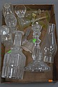 Box lot with early glass three decanters, candlestick, and Venetian glass.