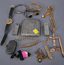 Group lot to include two silver lipstick containers, cigarette holder, match safe, Victorian gold plated items, three watches, and a...