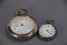 Two silver pocket watches including a key wind.