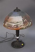 Table lamp with milk glass painted shade, ht. 23in.