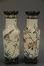 Pair of Longwy French enamel vases, vase ht. 13in.