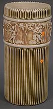 Roseville pottery umbrella stand with cherubs, ht. 21in.