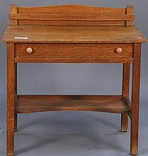 L & JG Stickley server/desk signed in drawer, ht. 29in.; wd. 34in.