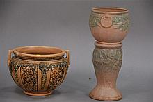 Two piece lot to include Roseville jardinière (small flake) ht. 10in. and pottery jardinière ht. 20in. with pedestal