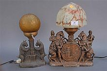 Two decorative figural lamps, ht. 13in. & 16in.