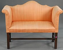 Chippendale style upholstered loveseat, ht. 31in.; wd. 44in.