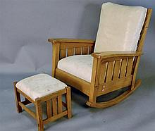 Stickley rocker with Stickley footstool having leather upholstered seat and back.