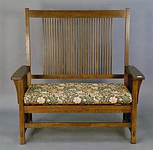 Stickley Mission Oak bench.