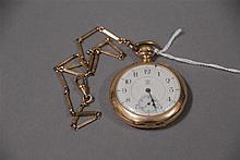 John Hancock 14K gold open face pocket watch, 71 grams total weight.