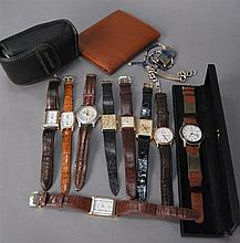 Group of watches to include Luminox, four Orvis, Michaels, Sarcar, Juvenia, and a Timex along with a camera, wallet, and two sterlin...