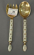 J. Tostrup Norway, enameled sterling serving fork and spoon, 2.9 t oz.
